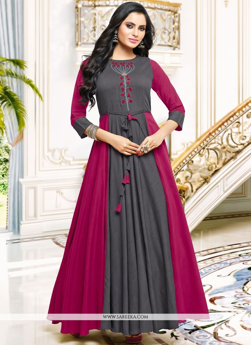 Satin Embroidered Work Party Wear Kurti