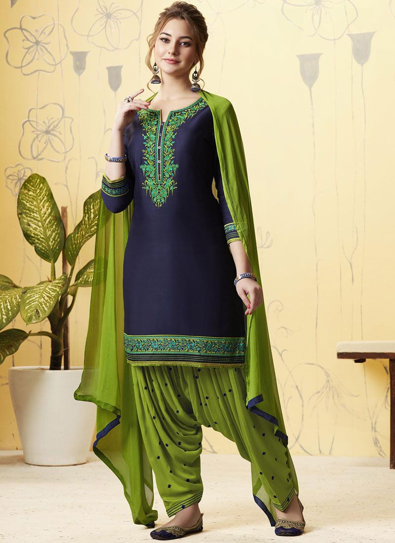 Satin Green and Navy Blue Embroidered Patiala Suit