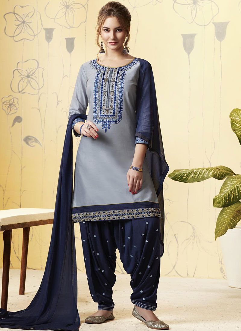 Satin Grey and Navy Blue Embroidered Designer Patiala Salwar Kameez