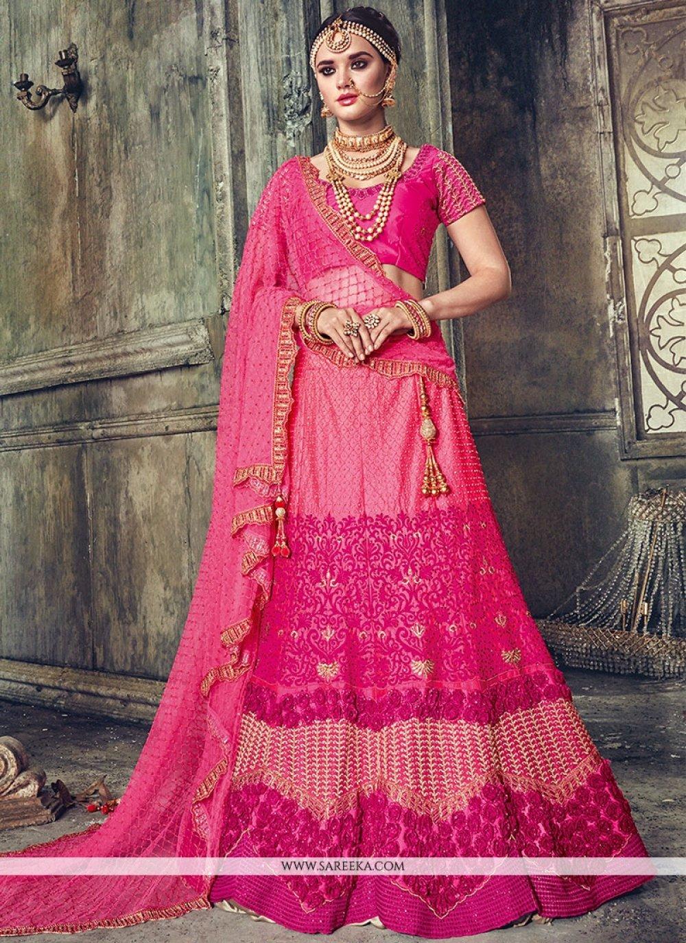 Satin Hot Pink Lehenga Choli