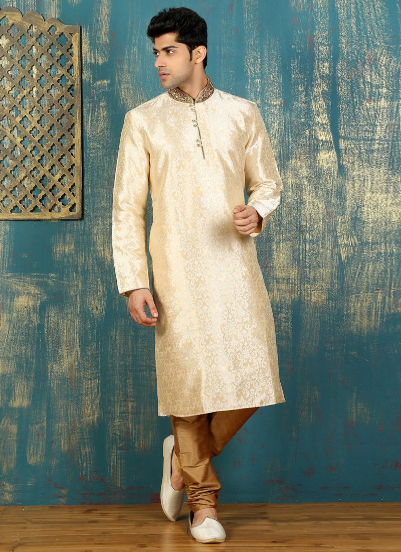 Satin Kurta Pyjama in Beige