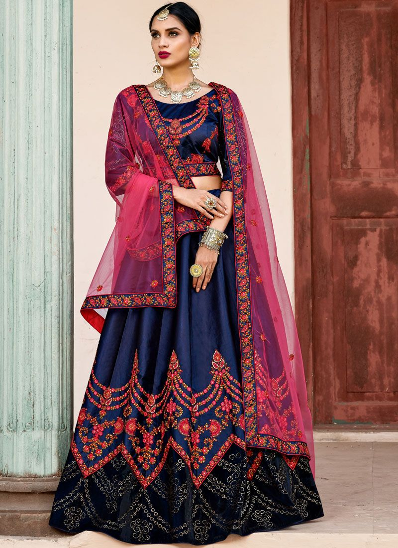 Satin Lehenga Choli in Navy Blue