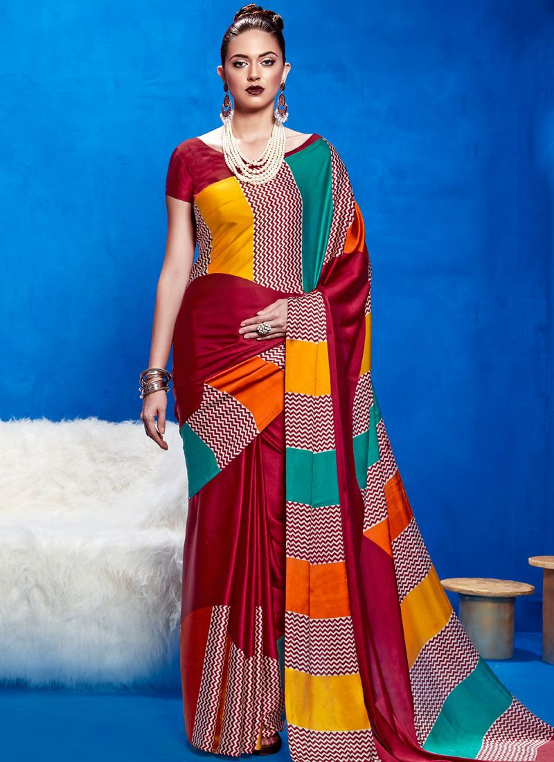 Satin Multi Colour Casual Saree