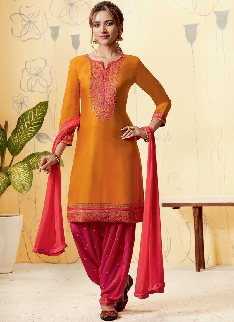 Satin Orange and Pink Designer Patiala Salwar Kameez