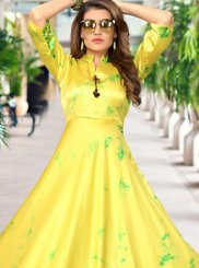 Satin Party Wear Kurti in Yellow