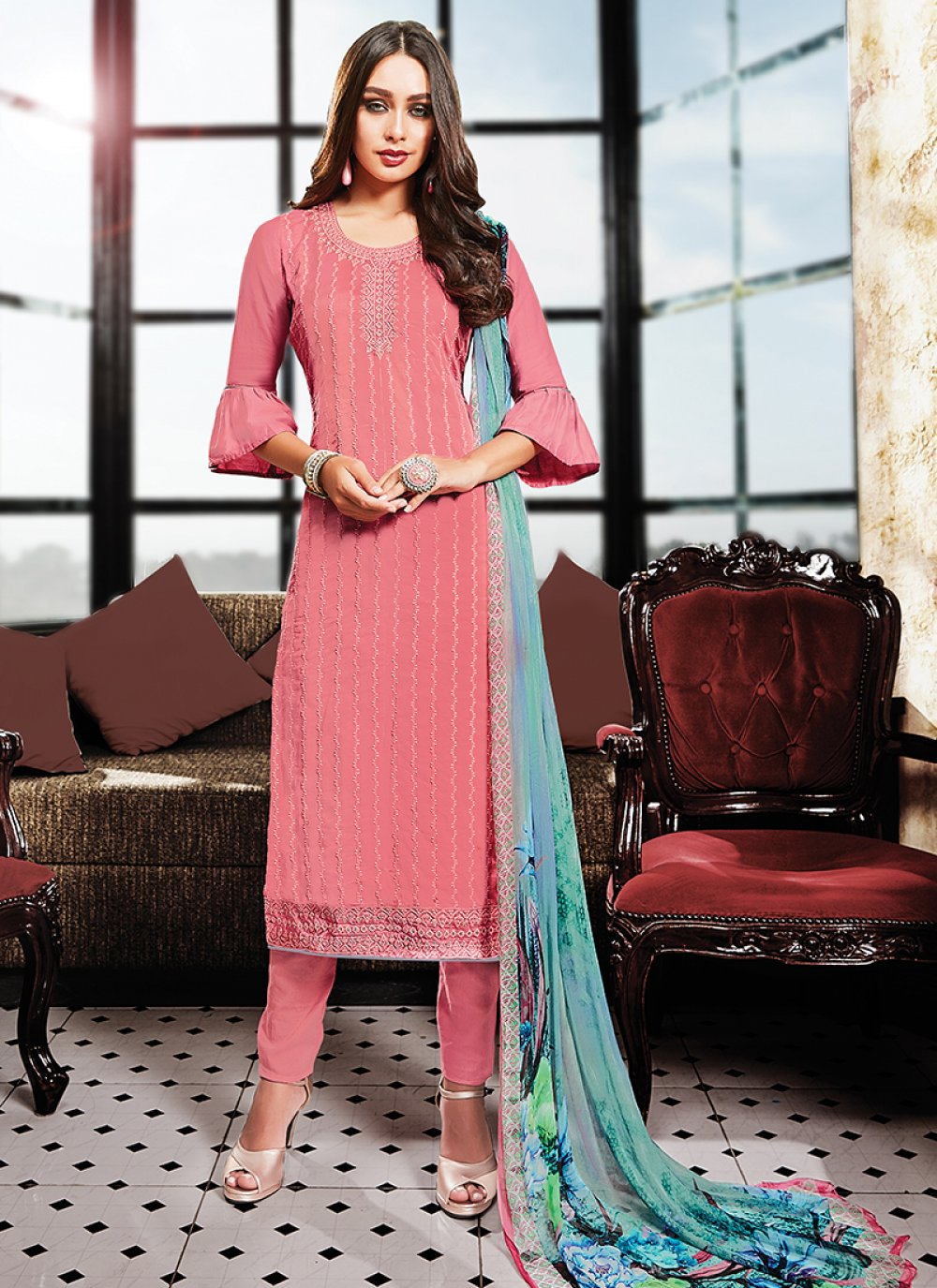 Satin Pink Designer Palazzo Suit