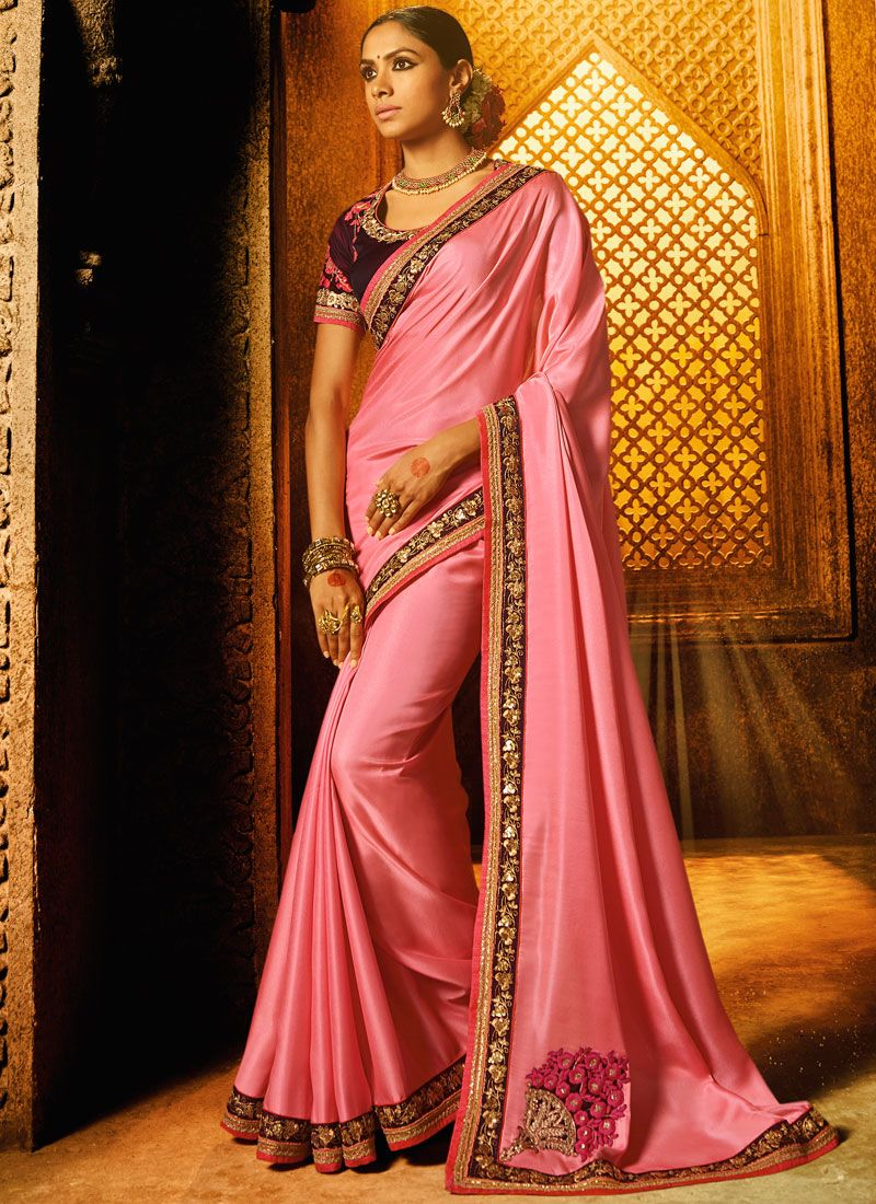 Satin Pink Embroidered Work Classic Designer Saree