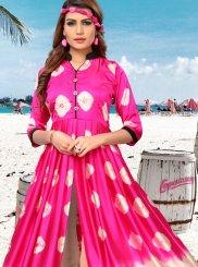 Satin Print Cream and Pink Party Wear Kurti