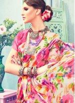 Satin Print Work Printed Saree