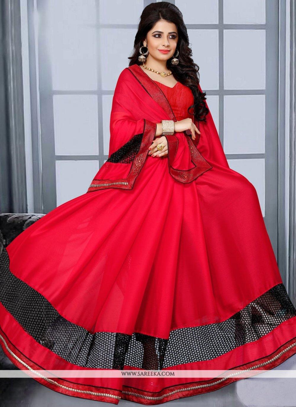 Satin Red Lace Work Designer Saree
