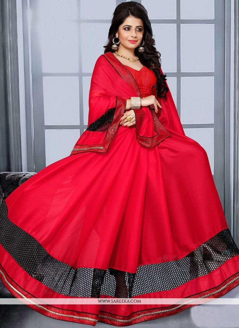 Satin Red Lace Work Designer Saree