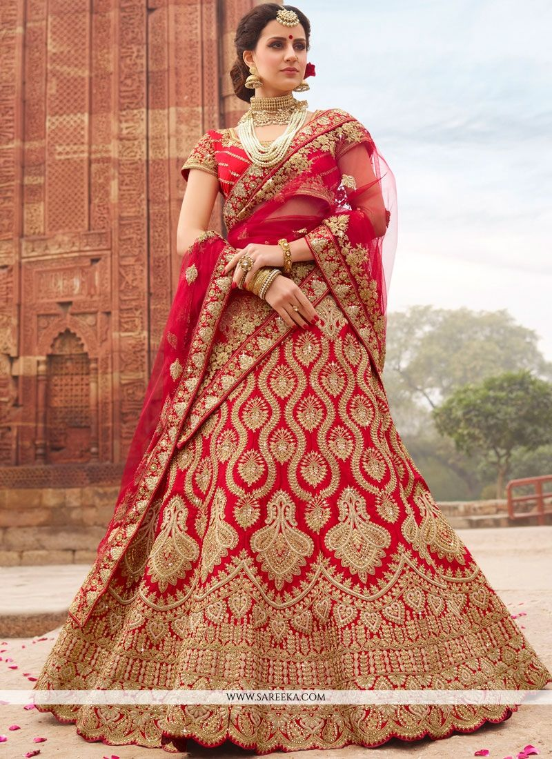 Satin Red Lehenga Choli