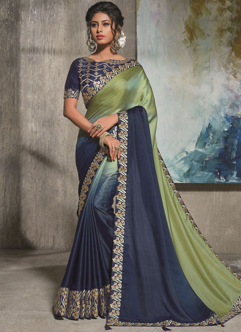 Satin Silk Blue and Sea Green Resham Shaded Saree