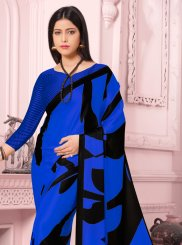 Satin Silk Blue Casual Saree