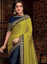 Satin Silk Border Green and Navy Blue Designer Half N Half Saree