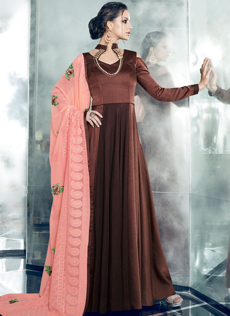 Satin Silk Brown Readymade Anarkali Suit