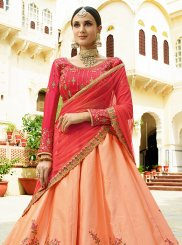 Satin Silk Embroidered Hot Pink Designer Lehenga Choli