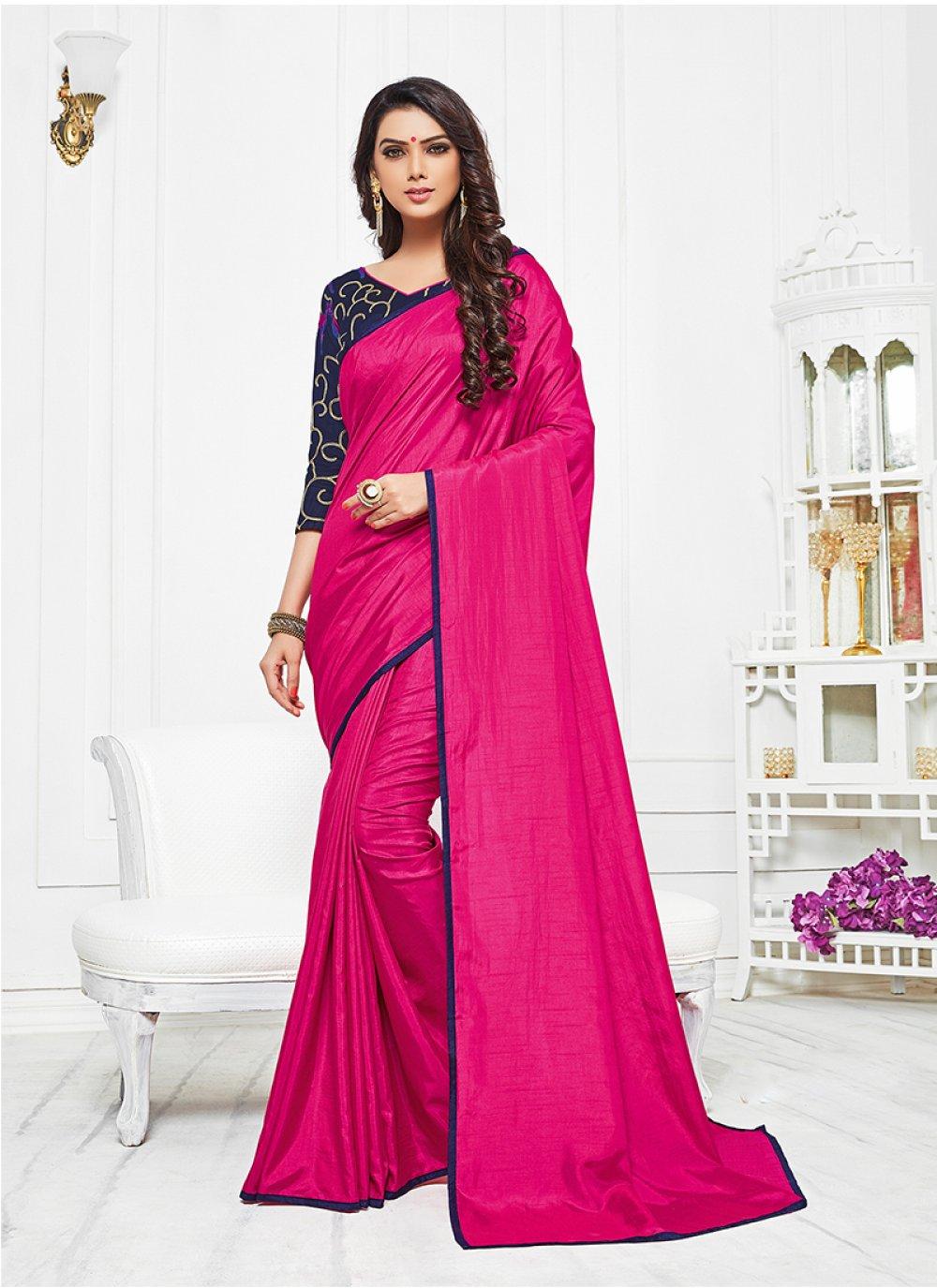 Satin Silk Hot Pink Silk Saree