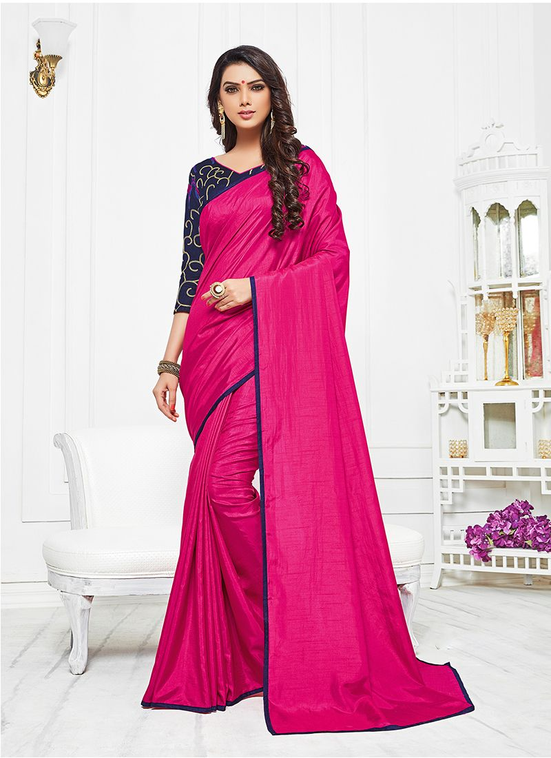 Satin Silk Hot Pink Silk Saree