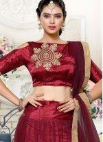 Satin Silk Maroon Zari Work Lehenga Choli
