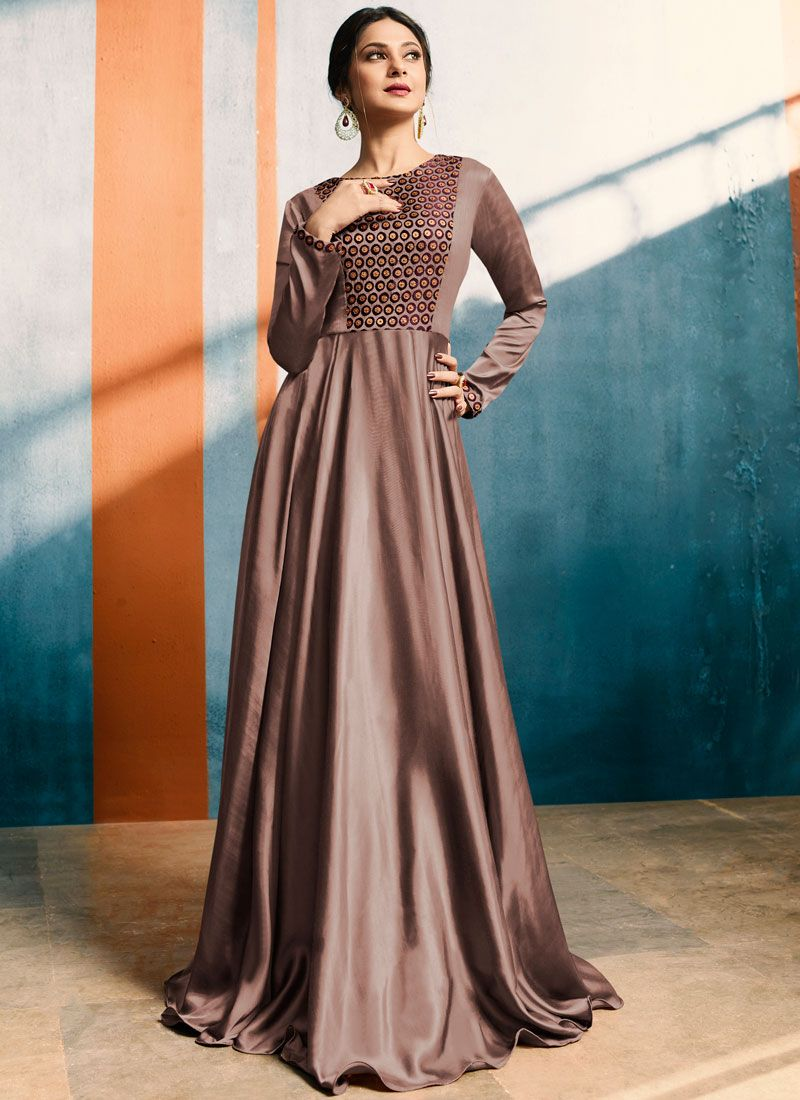 Satin Silk Mauve  Party Wear Kurti