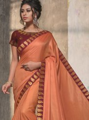 Satin Silk Orange Patch Border Designer Traditional Saree