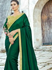 Satin Silk Patch Border Classic Designer Saree in Green