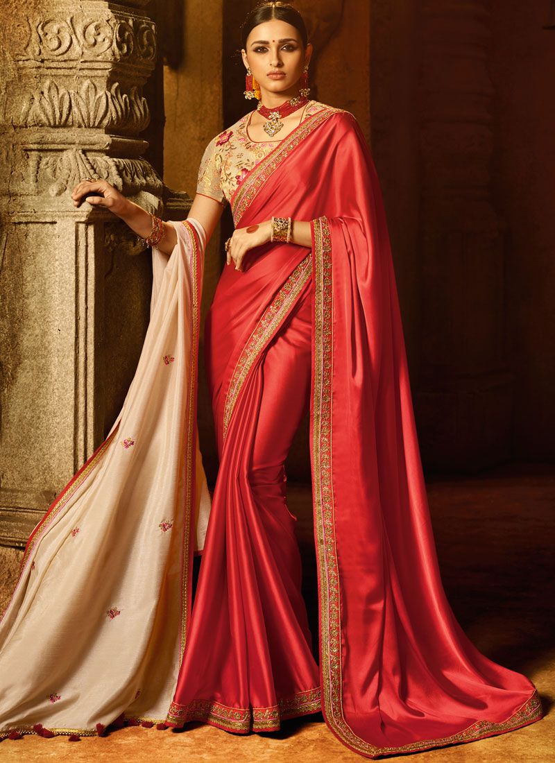 Satin Silk Patch Border Work Designer Traditional Saree