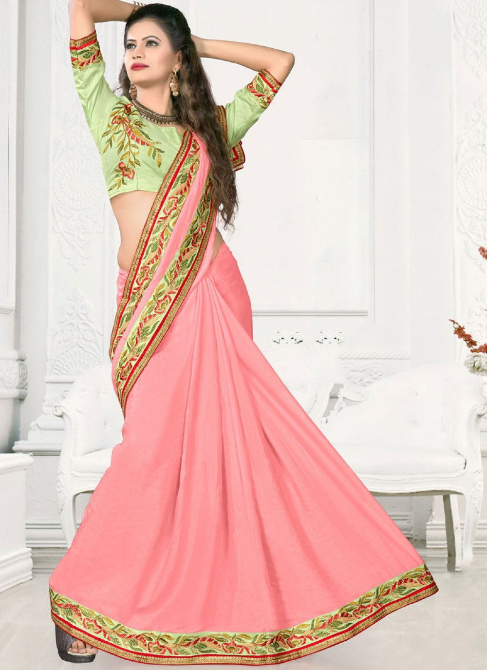 Satin Silk Pink Embroidered Work Designer Traditional Saree