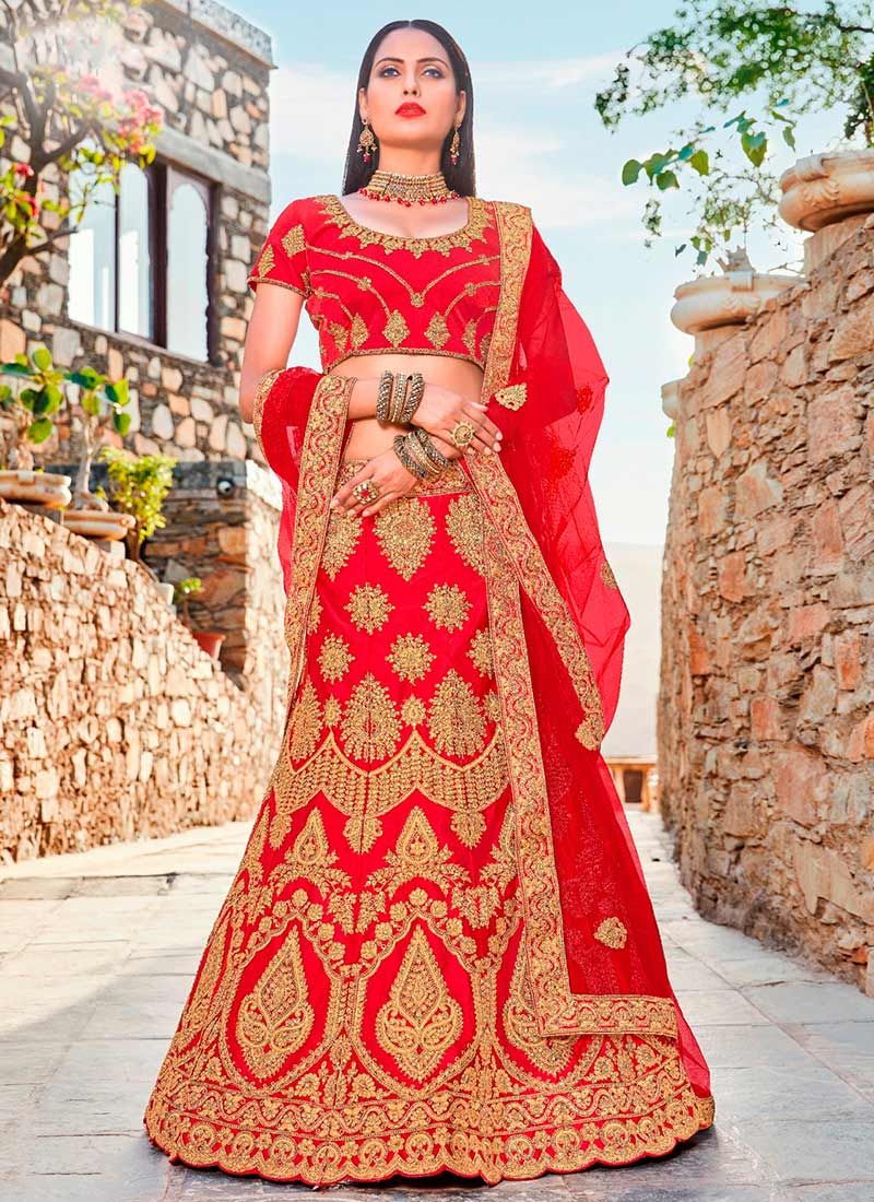 66db96fadf Satin Silk Red Patch Border Work Lehenga Choli buy online -