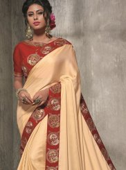 Satin Silk Resham Cream Traditional Saree