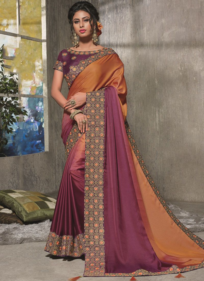 Satin Silk Resham Orange and Wine Shaded Saree