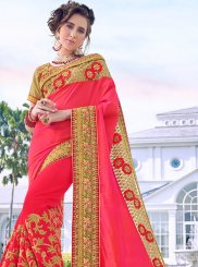 Satin Silk Rose Pink Patch Border Designer Traditional Saree