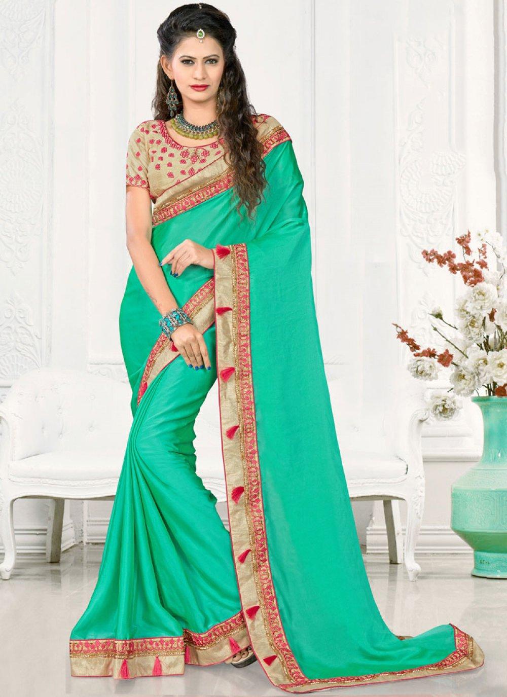 Satin Silk Sea Green Designer Traditional Saree