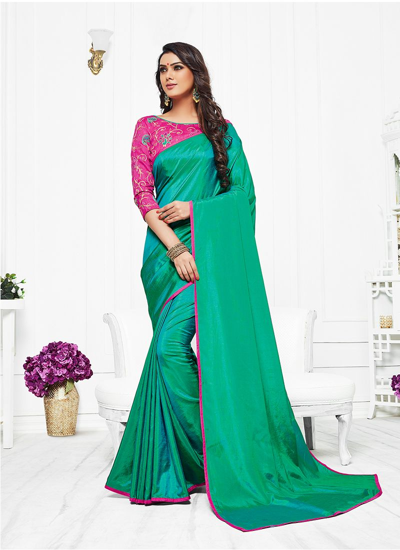 Satin Silk Sea Green Resham Work Silk Saree