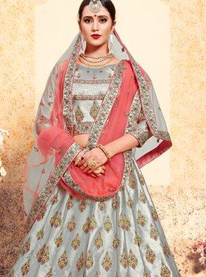 Satin Stone Grey Designer Lehenga Choli