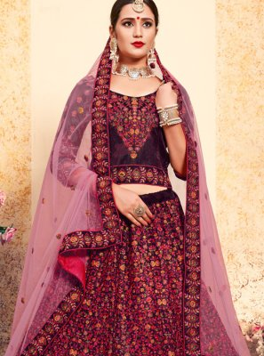 Satin Swarovski Brown Trendy Lehenga Choli