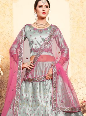 Satin Thread Grey Trendy Lehenga Choli