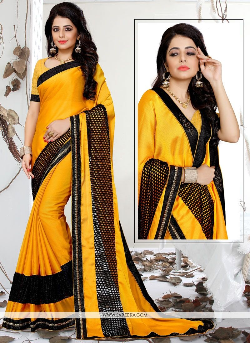 Satin Yellow Classic Saree
