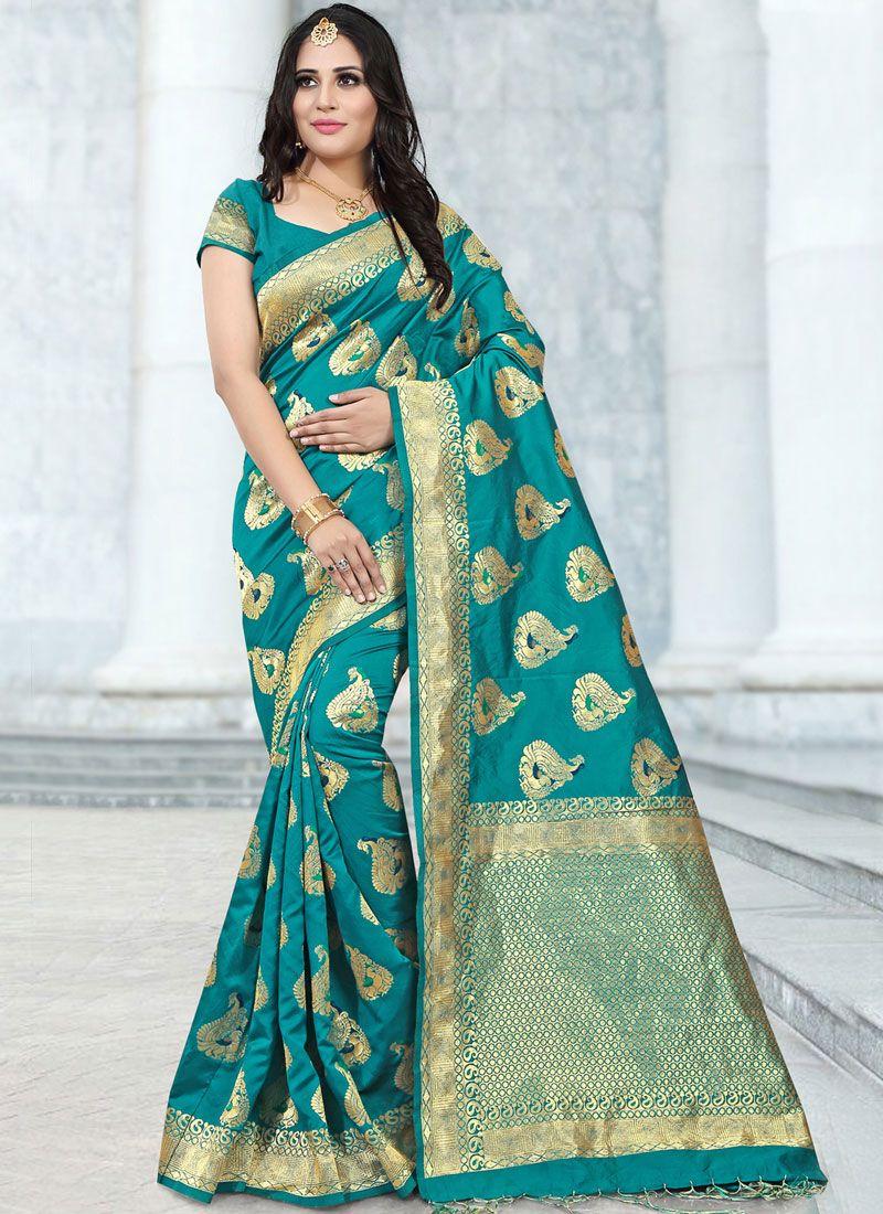 Sea Green Abstract Print Banarasi Silk Classic Saree