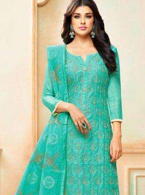 Sea Green Art Silk Designer Palazzo Suit
