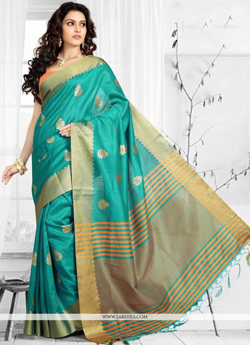 Sea Green Art Silk Designer Traditional Saree