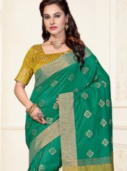 Sea Green Chanderi Traditional  Saree