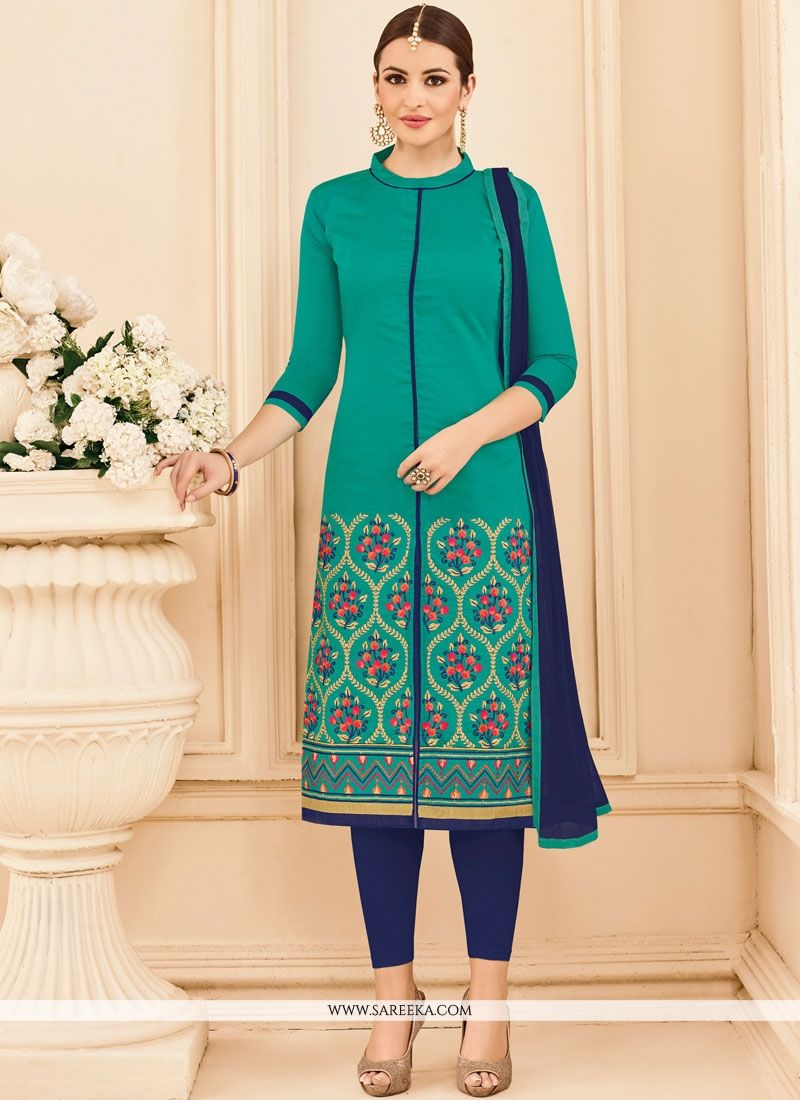 Sea Green Cotton   Churidar Suit