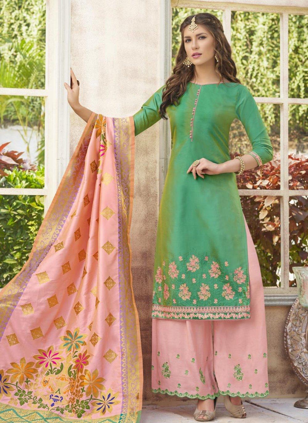 Sea Green Cotton Satin Designer Palazzo Suit