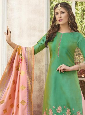 Sea Green Cotton Satin Designer Palazzo Suit
