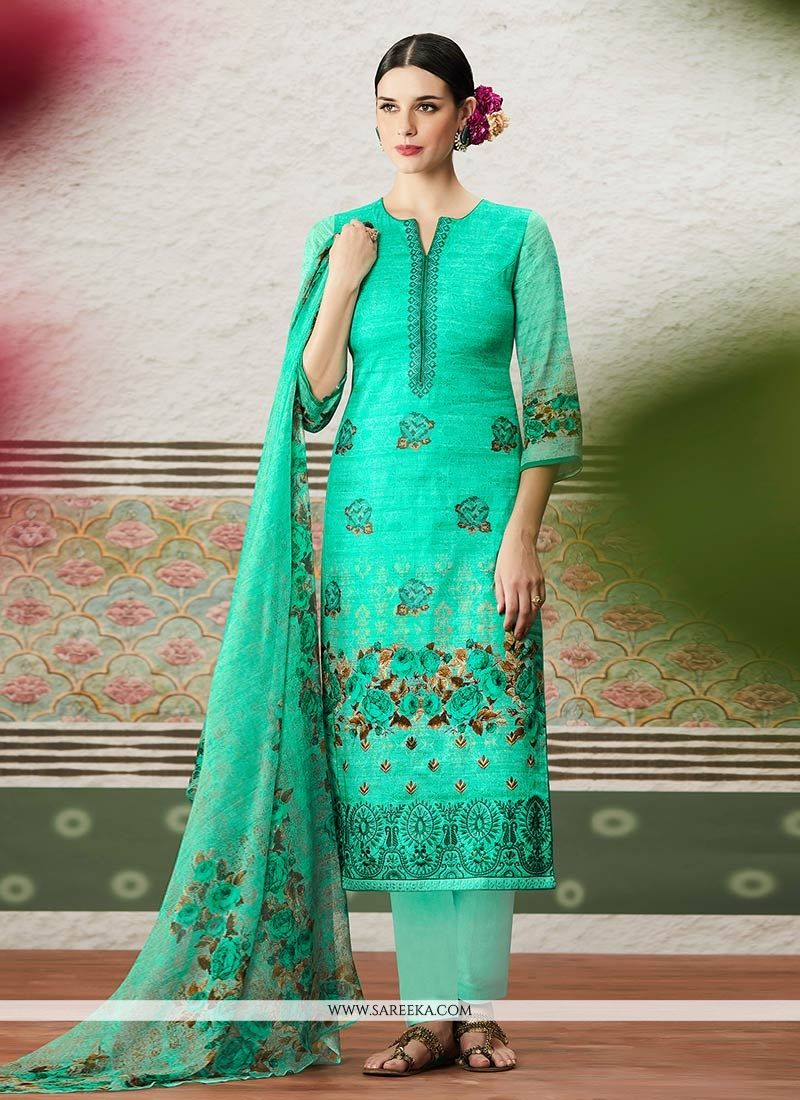 Sea Green Cotton Satin Pant Style Suit