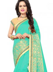 Sea Green Embroidered Ceremonial Designer Traditional Saree