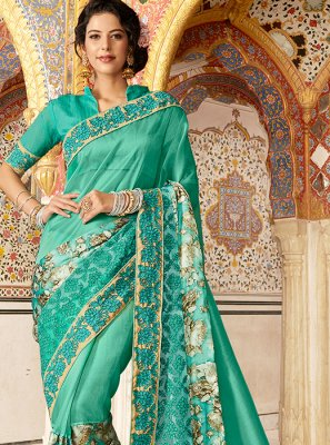 Sea Green Embroidered Fancy Fabric Designer Saree