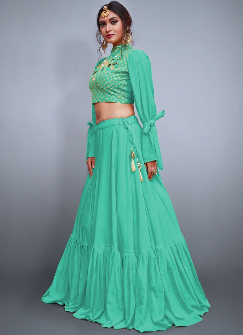 Sea Green Embroidered Readymade Lehenga Choli